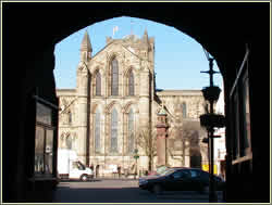 Hexham Abbey viewed through arch